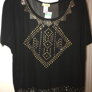 Tops - Sheer Black Top with Gold Embellishment